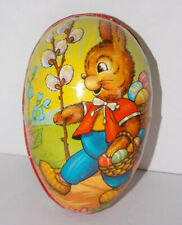 """Vintage West German 6 3/8"""" Paper Mache EASTER EGG Candy Container PETER RABBIT"""