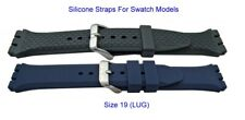 Swatch Style Silicone Strap Black Blue Options Size 19MM LUG