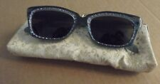 Vintage Christian Dior Turquoise Frame Rhinestone Sunglasses & Brocade Case