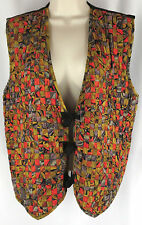Halsey Collection Womens Vest M Black Multi Color Weave Rayon Boho Hippie Gypsy