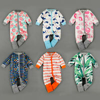 NEW BABY BOY GIRL COLOURFUL BODYSUIT MIDDLE ZIPPED ROMPER BABYGROWS JUMPSUITS