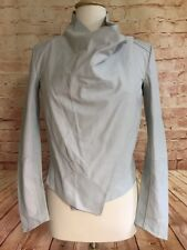 LaMarque Madison Womens Graphite Gray Cowl Neck Asymmetric Leather Jacket Small