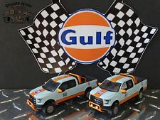 2 Gulf  Racing 2015 Ford F-150 Pickup Truck w/Hitch 1:64 Scale Diecast Lot