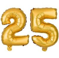 "16"" 25 Gold Number Balloons 25th Birthday Party Anniversary Foil Balloon Decor"