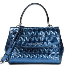 New Michael Kors Ava Mini Crossbody Glimmering leather bag steel Blue holiday
