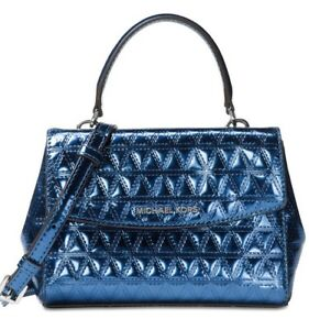 New Michael Kors Ava Mini Crossbody Glimmering leather bag steel Blue holiday