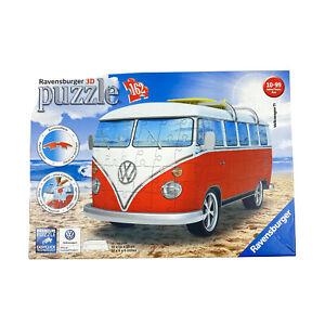 Ravensburger Puzzle 3D Volkswagen VW Bus Red T1 Surfer Edition 162 Pieces