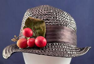 1920s Navy Blue Woven Straw Silk Ribbon Bow Red Cherry Fruit Trim Cloche Hat VTG