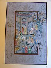 VINTAGE PERSIAN MINIATURE HAND PAINTING ON SILK SHASHI ARTS &CRAFTS JAIPUR INDIA