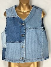 Guess Faded Denim Jean Patchwork Vest Rocker Biker Womens Size Large