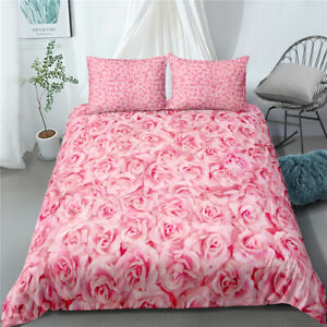 Pink Love Rose Twin/Full/Queen/King Size Bed Duvet/Quilt Cover Set Duvet Covers