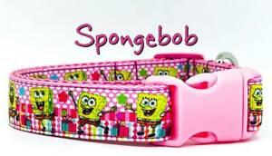 "Spongebob dog collar handmade adjustable buckle collar 1"" wide or leash pink"