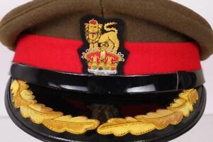 WW2 BRITISH ARMY OFFICERS VISOR HAT GOLD BRAID CAP MILITARY 59cm LGE