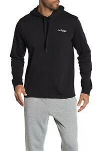 Adidas Hoodie Mens Small to 2XL New Black Essentials Cotton Lightweight Pullover