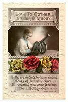 Antique RPPC real photograph postcard card Love To Mother On Her Birthday
