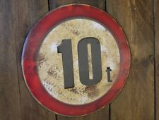 10 ton limit embossed sign vintage style metal sign notice