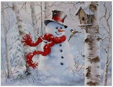 """24"""" x 18"""" SNOWMAN With Birds In The WOODS LIGHTED PRINT RAZ Imports NEW FaBuLouS"""