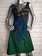 Prada Green Blue Black Silk Bird Embroidered Pleated Cocktail Dress Size 40