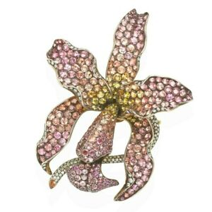 Orchid Brooch Solid 925 Sterling Silver Pink Yellow Flower High end Jewelry CZ