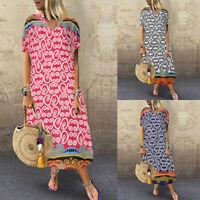 ZANZEA Womens Short Sleeve Floral Dresses Ladies Casual Mid-Calf Sundress Kaftan