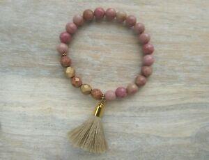 Pink Rhodochrosite Gemstone and Czech Glass Beaded Stretch Tassel Gold Bracelet