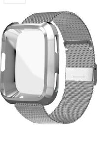 UHKZ Compatible For Fitbit Versa Wrist Band Replacement ~ Silver Mesh ~ Large