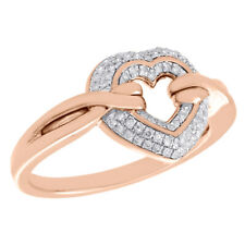 Ribbon Right Hand Cocktail Ring 1/5 Ct. 10K Rose Gold Diamond Cut Out Heart