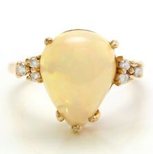 3.58 Carat Natural Ethiopian Opal & Diamonds in 14K Solid Yellow Gold Women Ring