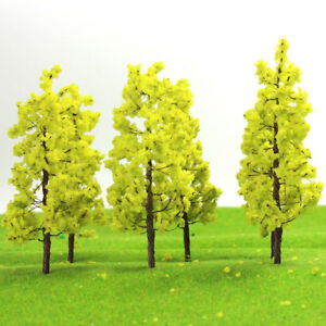 R9035 20pcs Model Train Railway Layout Yellow Green Model Trees N HO Scale 9cm