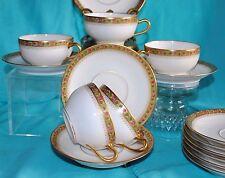 ANTG T. HAVILAND LIMOGES FRANCE HEAVY GOLD FLORAL LOT 5 TEA CUP SAUCER SETS