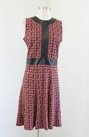 J McLaughlin Red Black Plaid Printed Faux Leather A Line Sleeveless Dress Size S