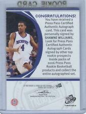 2006 Press Pass Basketball Shawne Williams Bronze Memphis Rookie Autograph