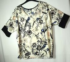 IVORY CREAM BLACK FLORAL TOP BLOUSE PARTY SIZE 12 GEORGE TUNIC