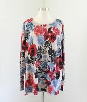 NWT Chico's Rosebud Floral Pullover Sweater Chicos Size 4 Tan Taupe Red Blue