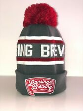 Lansing Brewing Company Boco Striped Red and Gray Beanie
