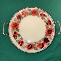 Vtg 1940-50's Metal Frame Glass Serving Cake Plate Tray Red Flowers Airbrushed