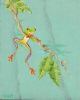 Original Painting Of Tree Frog -Wildlife & Animal Artwork-Acrylic On Hardboard