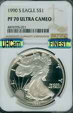 1990-S SILVER EAGLE NGC PF70 ULTRA HEAVY CAM MAC FINEST REGISTRY MAC SPOTLESS *