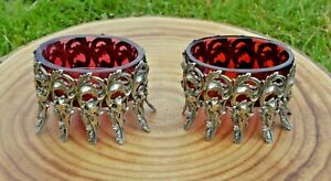 Two Ornate Floral Open Silver Salt Cellars. Cranberry / Ruby Red Glass Liners.