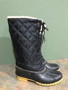 LL BEAN WOMEN'S BLUE LINED 265084 QUILTED DUCK BOOTS SIZE 8M