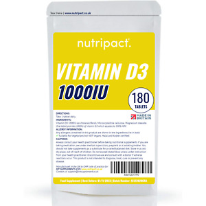 Vitamin D3 1000iu Tablets - 180 Pack - High Sun Bone Health Immune Support Vit D