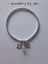 Star Heart & Crystal Silver Plated Stacking Bracelet ~ Stretch Elastic Handmade