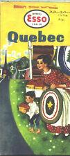 1957 Esso Quebec Vintage Road Map / Nice Cover Graphics !!
