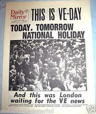 1945 VE DAY Newspaper London WWII Victory Nazi Germany & Adolf Hitler in Europe