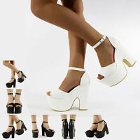 NEW HIGH HEEL CUT OUT PLATFORM WEDGE ANKLE STRAP SANDALS BLACK WHITE