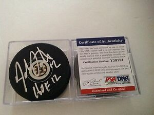 HOF Adam Oates Signed Boston Bruins Hockey Puck PSA DNA COA Autographed a