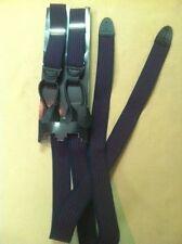 1 1/8 Black Button Bonded Leather End Suspenders Braces New