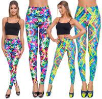 Womens Colourful Stretchy Leggings High Waist Elastic Stretchy Pants S-3XL FGY18