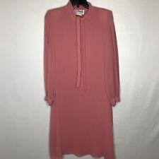 Vintage Miss Elliette Pink Party Frock Pleated Chiffon Long Sleeve Dress 8 Read