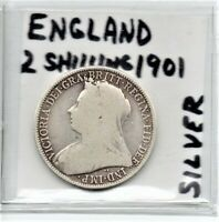 England UK Great Britain 2 Shilling Silver Coin 1901 Queen Victoria As Pictured